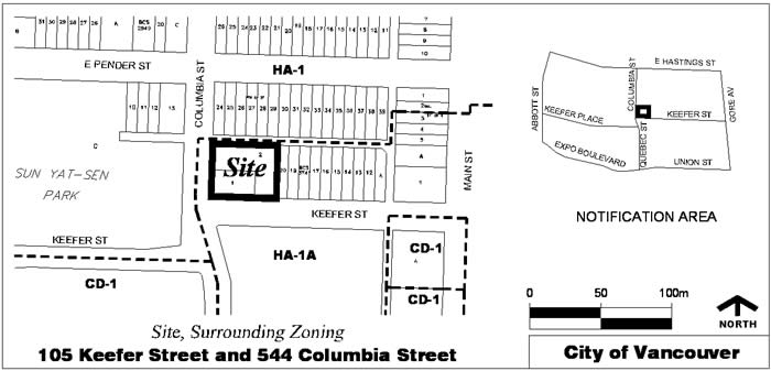 105 Keefer Street and 544 Columbia Street site graphic