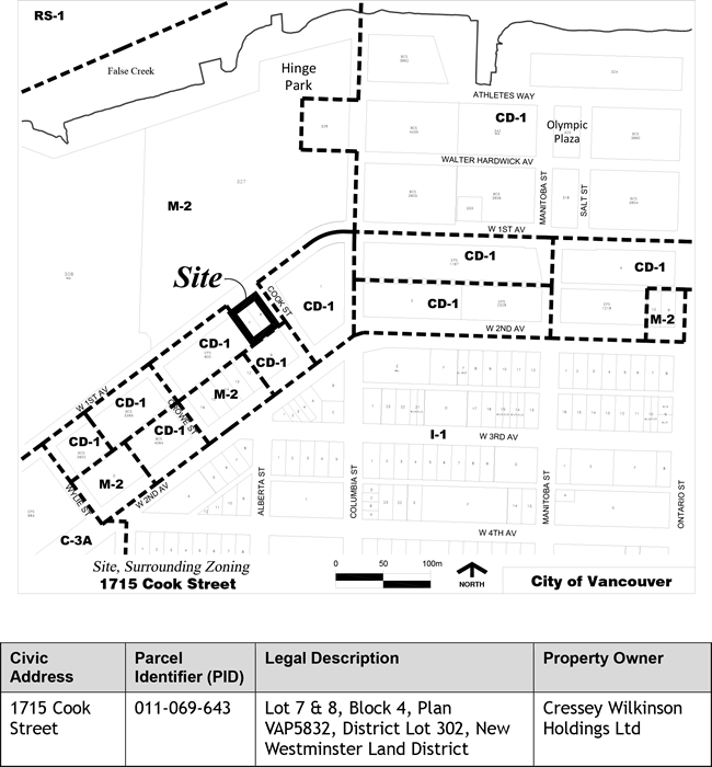 Application Site Map: Rezoning Application, 1715 Cook Street (220 West 1st Avenue