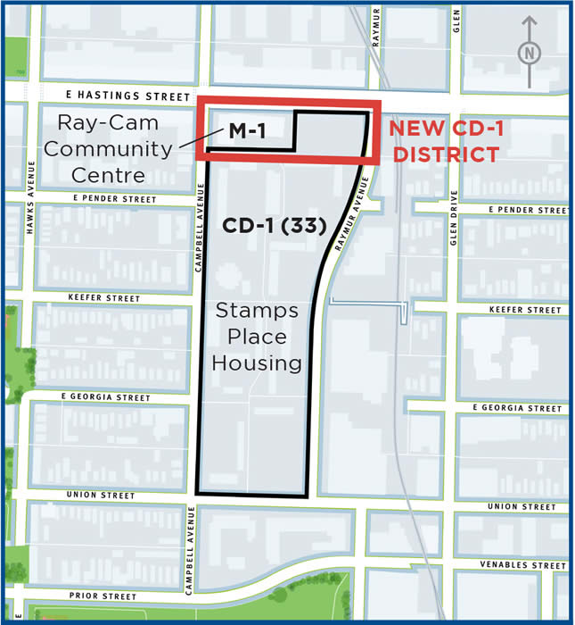 Application Site Map: Rezoning Application, 920 East Hastings Street And 401-719